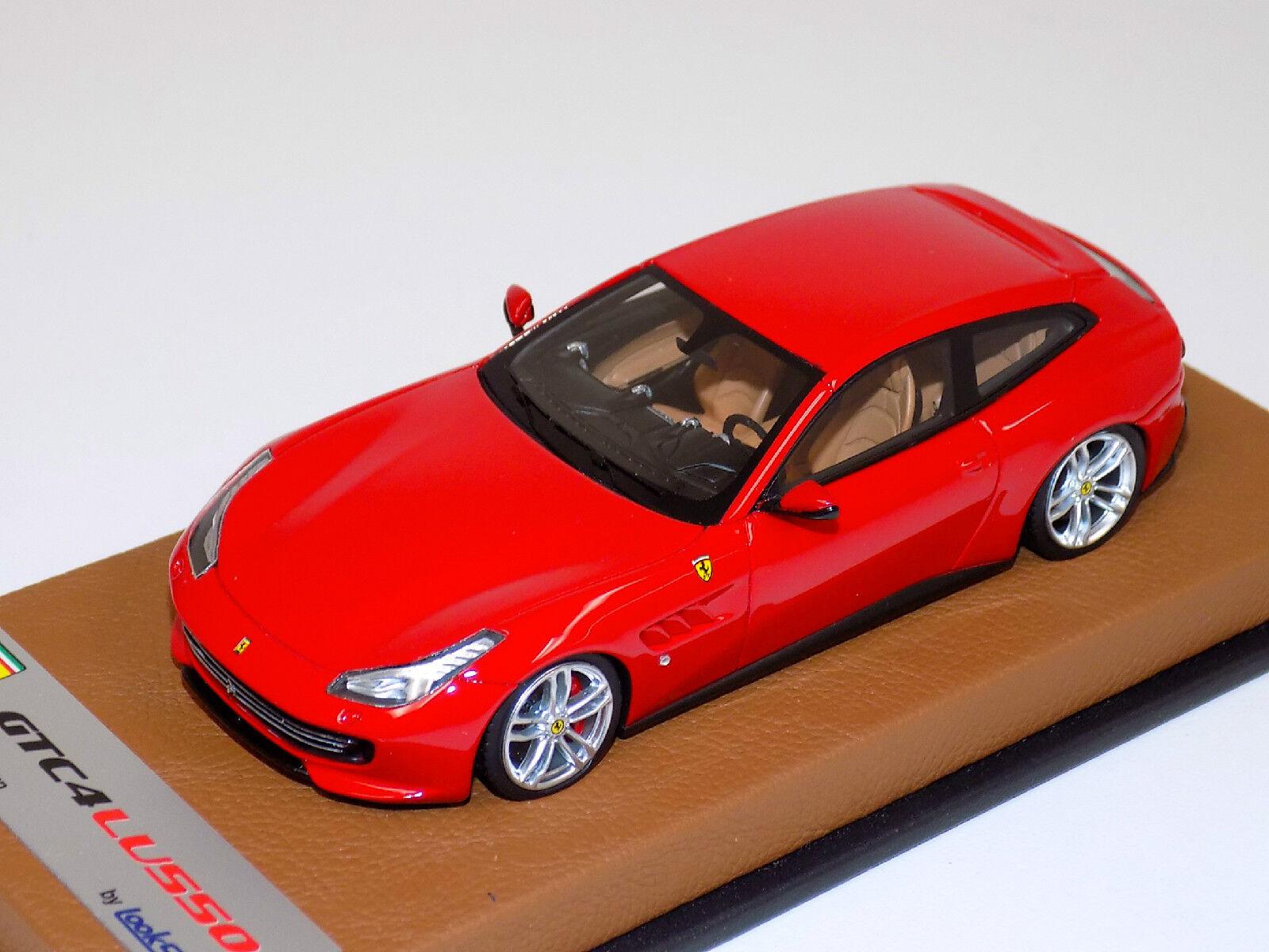 1 43 Looksmart Ferrari GTC4 Lusso in rouge Corsa on Tan Leather Base