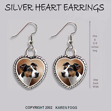 Jack Russell Terrier Dog Smooth Tri Color - Heart Earrings Ornate Tibetan Silver