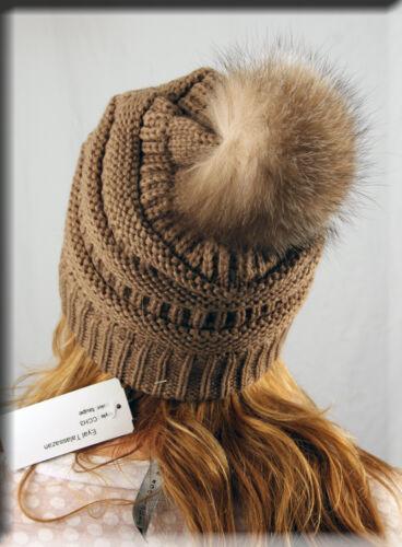 Efurs4less New Beige Slouch Beanie Crystal Fox Fur Pom Pom
