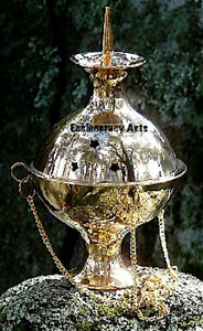 Brass-Hanging-Censer-Incense-Resin-Cone-Charcoal-Burner-Accessories-6-034-Inch-NEW