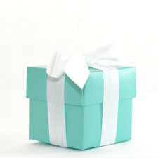 40 LUXURY LINED BLUE TIFFANY SQUARE WEDDING FAVOUR GIFT BOX & LID *Free P&P*
