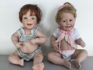Lot-of-2-VintagePORCELAIN-dolls-ASHTON-DRAKE-and-Elke-Hutchens