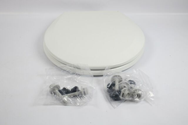 Bemis 500EC000 Molded Wood Round Toilet Seat With Easy Clean Change Hinge, White