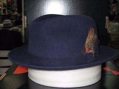 b2e33e52214ff Dobbs Broadstreet Navy Suede Finish Fur Felt Fedora Hat 7 3 8 for ...