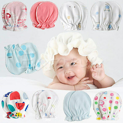 Newborn infant baby girl cotton scratch guard mittens satin mini bows color set