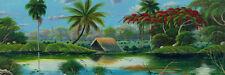 "CUBAN ART #055 **DOUGLAS** PAISAJE TROPICAL 55X18"" SIGNED ON CANVAS"