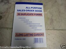 """New! All Purpose Carbonless Sales Invoice Book  50 Forms 2 Parts 6 1/2"""" X 4 1/4"""""""