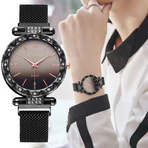 Damen-Casual-Quarz-Edelstahl-Band-Uhr-Frauen-Magnet-Schnalle-WristWatch