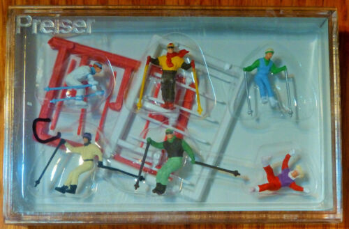 Snow Skiing Figures Preiser HO #10313C Down-Hill racers Plastic Painted