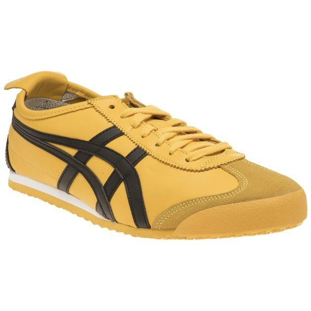 pretty nice 98952 a109b New Mens Onitsuka Tiger Yellow Mexico 66 Leather Trainers Retro Lace Up