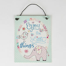 """Sass & Belle Small """"Enjoy the Little Things"""" Pastel Patchwork Sign/Plaque 10x8cm"""