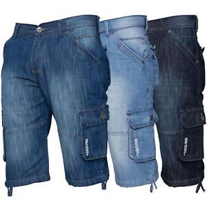 ENZO-Jeans-para-hombre-de-carga-combate-informal-de-verano-Shorts-Pantalones-Cortos-de-Jeans-Todas