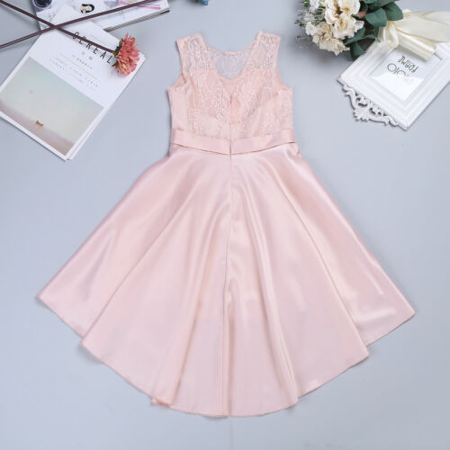 Flower Girls Princess Dress Wedding Bridesmaid High-low Hem Gown Formal Party