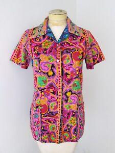 Vtg-60-039-s-Graff-neon-pink-green-barkcloth-tiki-Hawaiian-button-blouse-top-S-M