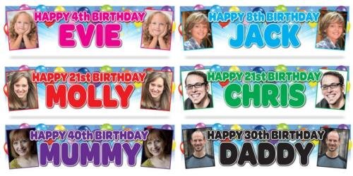 LARGE PERSONALISED GLOSS PHOTO BIRTHDAY PARTY BANNER 16th 30th 40th 21st 18th