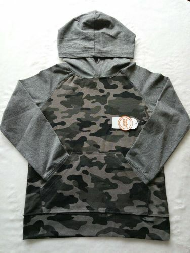 WONDER NATION Boys  Long Sleeve Jersey Hoody Shirt GRAY CAMO NWT
