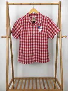 Tori-Richard-Women-039-s-Red-Plaid-Honolulu-Button-Front-Short-Sleeve-Shirt-Size-M