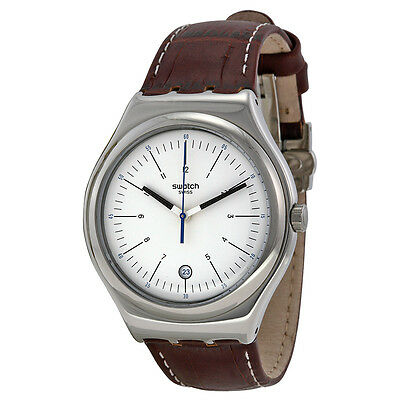 Swatch Appia Silver Dial Brown Leather Mens Watch YWS401