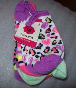 GIRLS-TOTAL-GIRL-SOCKS-NO-SHOW-6-PAIRS-PER-PACK-MULTIPLE-PATTERNS-PER-PACK-NWT