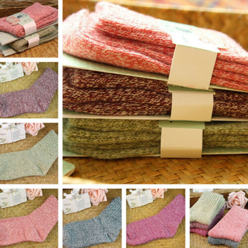 5 Pairs Womens Wool Cashmere Thick Sock Lady Soft Casual Winter Socks Xmas Gifts