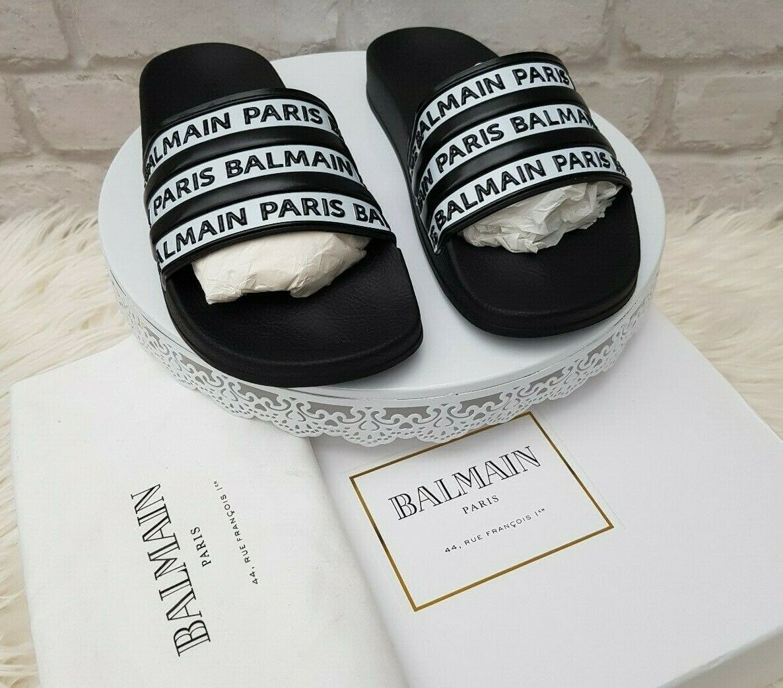 Nueva marca de barras Balmain, diapositivas, sandalias, sandalias.