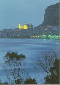 CARTOLINA-SICILIA-SICILY-POSTCARD-CEFALU-039-VEDUTA-PANORAMA-DI-NOTTE