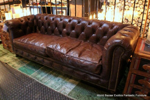 """69"""" W x 26"""" D tufted small Sofa Top grain vintage brown leather beautiful"""