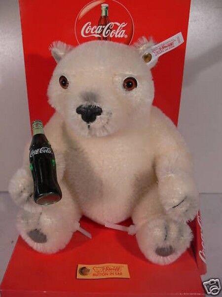 STK Steiff Teddy Coca Cola Polar Bear Cub sitzend ca.20 cm Mohair