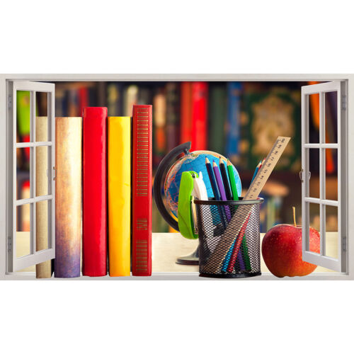 Q934w plumas Libros Escolares Niños Aprender Pegatinas de Pared Dormitorio Niñas Niños Sala de Estar