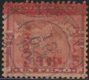 OL9-COLUMBIA-MAP-OVERPRINTED-PANAMA-1906-SURCHARGED-5c-ON-1-PESO-USED