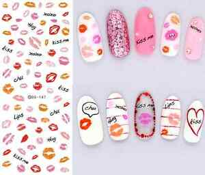 Pink Red Lips Kisses Water Transfers Nail Art Stickers Decals Uv Gel
