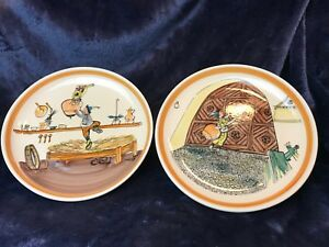 2-Collectable-Hand-painted-Swiss-Plates-by-Alois-Carigiet-Rheinfelder-Keramik
