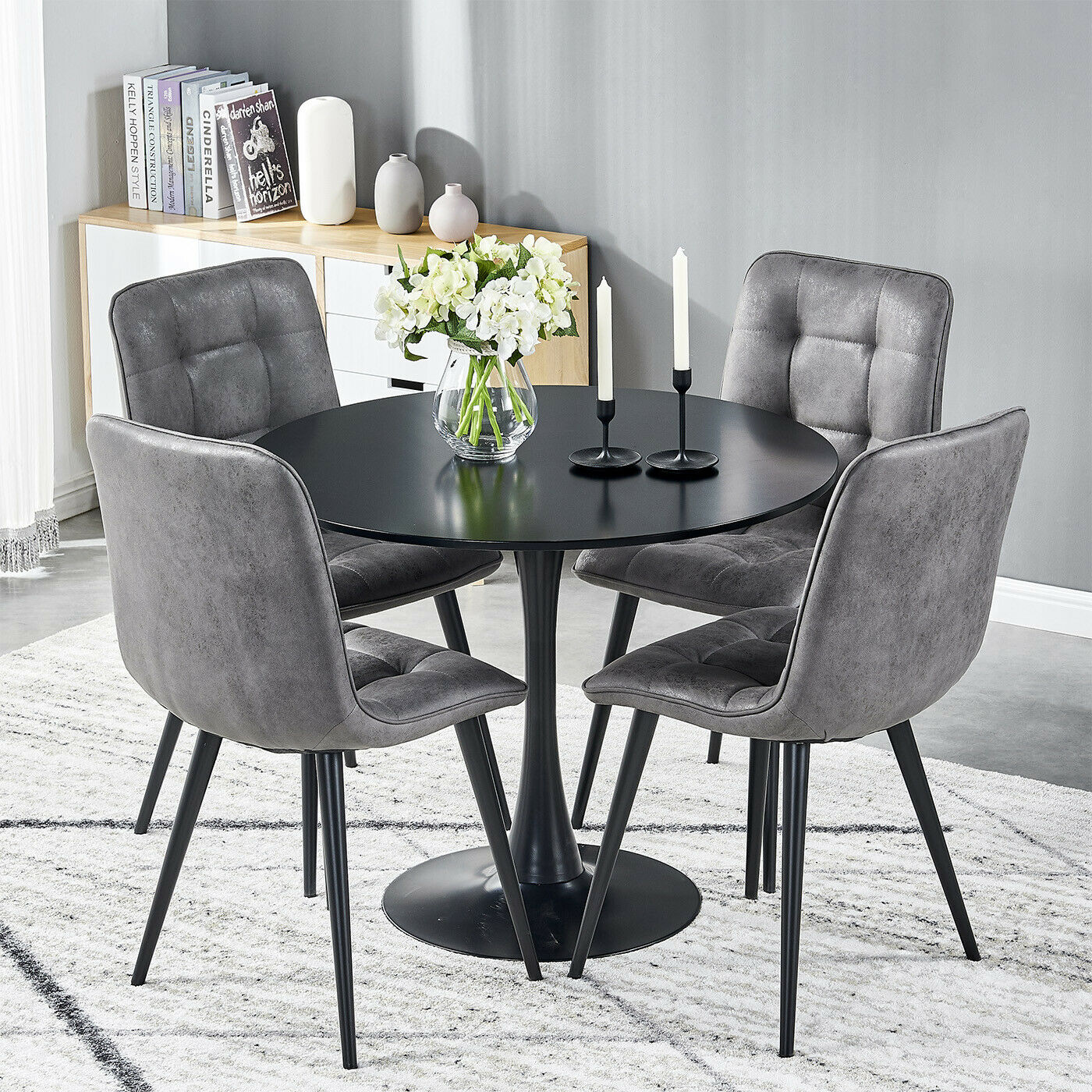 Small Round Dining Table And 4 Faux Suede Fabric Chairs Black Legs Kitchen Sets Ebay