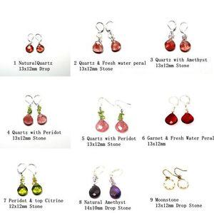 Silver-amp-Rhodium-Plated-Natural-Quartz-Cut-Stones-Drop-Dangle-Earrings