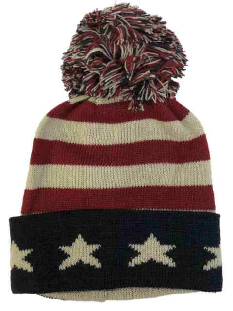 fd54815b3 David & Young Mens Patriotic American Flag Pom Beanie Stocking Cap Hat