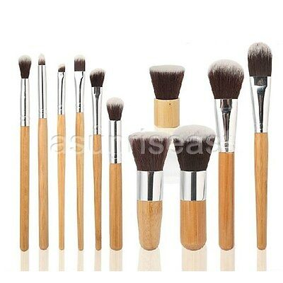 11Pcs Bamboo Handle Makeup Brushes Set Eyeshadow Foundation Shade Cosmetic Tools