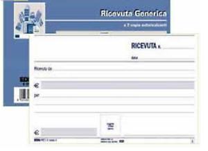 Blocco RICEVUTE GENERICHE 50 moduli autoricalcante duplice copia