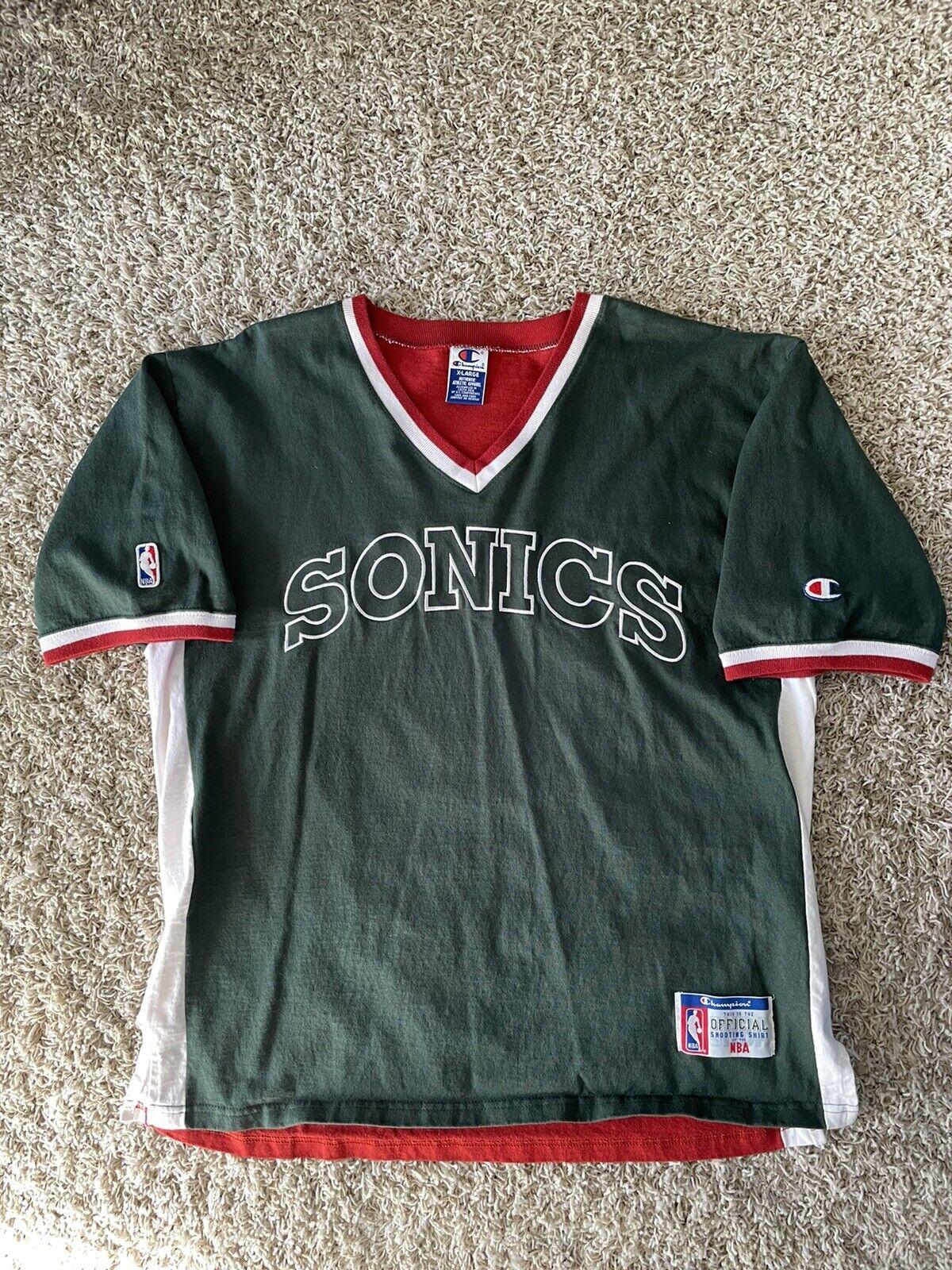 Vintage Champion Seattle Supersonics Shirt 90s Official Shooting Shirt XL NBA