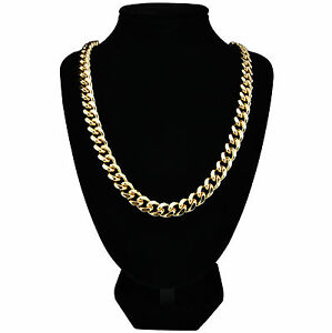 Mens-24k-Gold-Plated-Curb-Chain-Heavy-Necklace-24-034-amp-30-034-Long-10mm-Wide-New