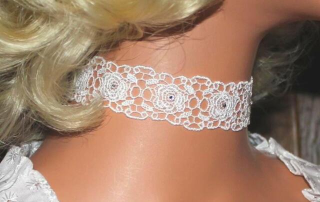 Halsband Kropfband Choker weiß Hochzeit Swarovski-Elements vintage Dirndl Neu