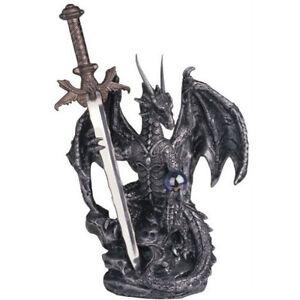 Winged Dragon W Sword Sculpture Medieval Figurine Gothic Art Home Office Decor 683121471494 Ebay