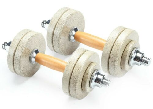 Stone Coated steel Wood Handle Adjustable Dumbbell Fitness Workout