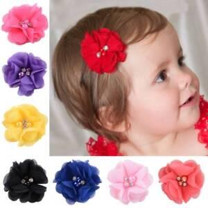 10Pcs-Kids-Girls-Hair-Clips-Chiffon-Flower-With-Pearl-Infant-Hairpins-Headwear
