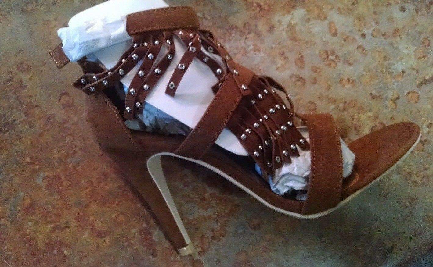 """Cognac Metallic Studded Fringed 4"""" Heels Lance by Penny Loves Kenny, Size 7.5"""