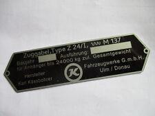 Typenschild Schild oldtimer Kässbohrer Ulm Bus LKW Anhänger Zuggabel Z24/I S29