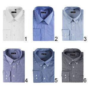 Camicia-Uomo-Casual-Basic-Classica-Cotone-Tinta-Unita-Quadretti-Manica-Lunga