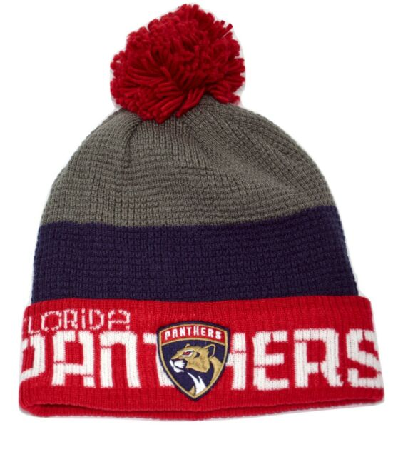 Florida Panthers Reebok CKV08Z NHL Team Pom Pom Knit Hockey Hat Beanie Toque