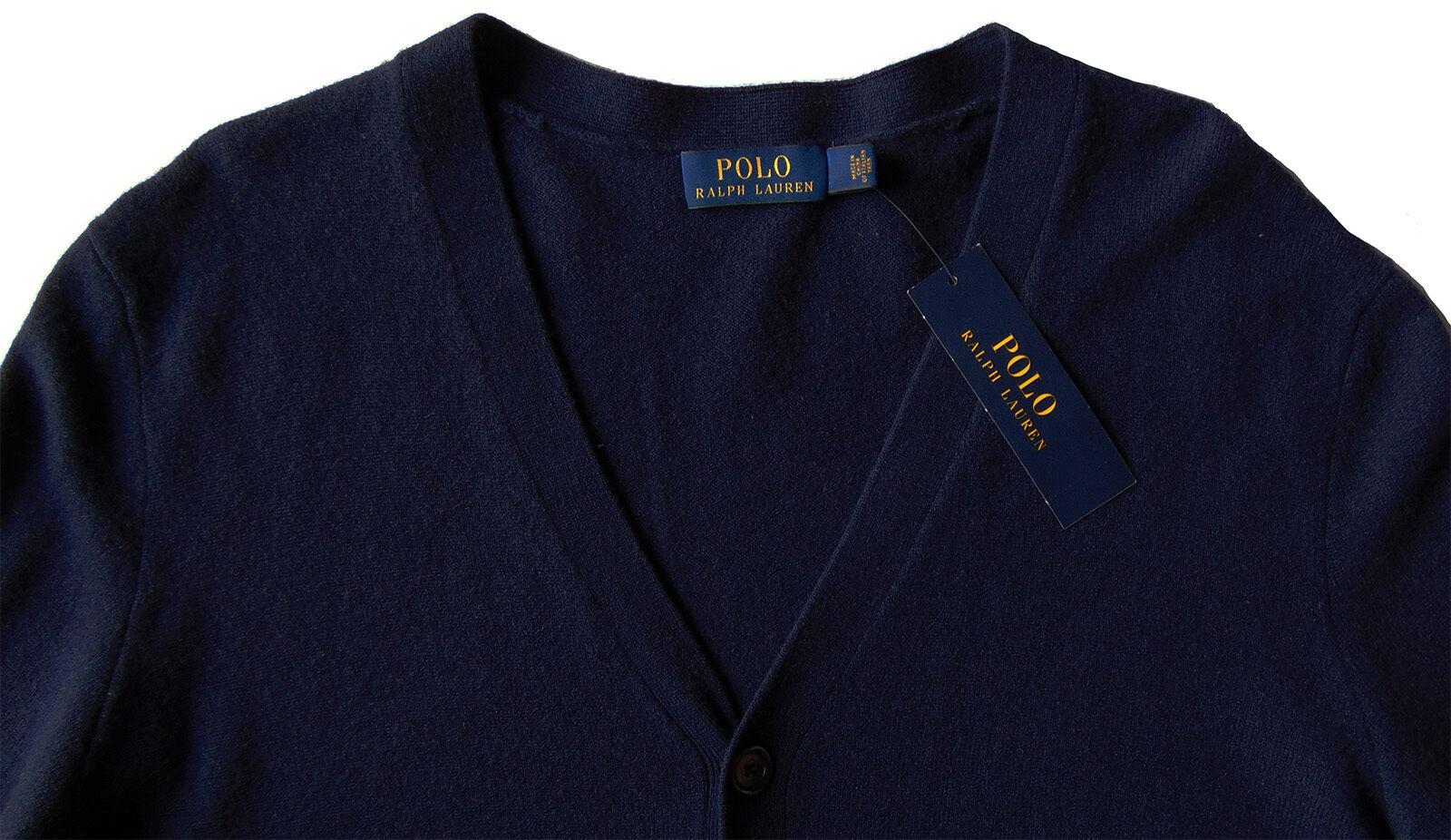 Uomo's RALPH Navy LAUREN Navy RALPH blu Merino Lana Cardigan Sweater Small S NWT NEW  185+ ee9d01
