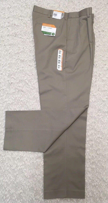 NWT, Savane Men's Eco-Start Khaki, 36x32, Straight Fit, Pleated