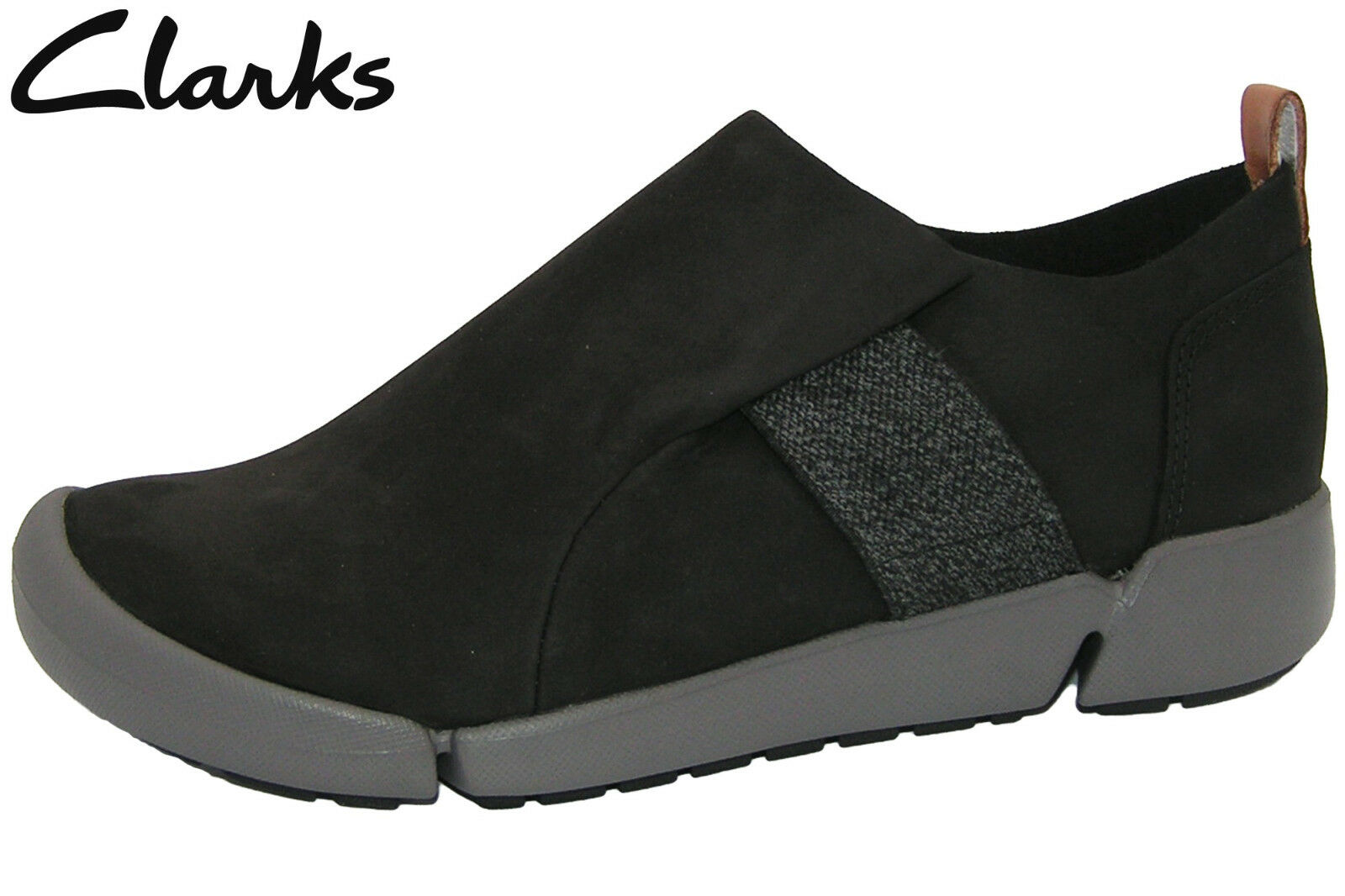 Clarks Tri Lily Damen Halbschuh Schwarz Nubuk Leder Slip-on Schuhe 26127231 NEU